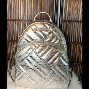 Michael Kors Embossed Leather Silver Backpack,New!